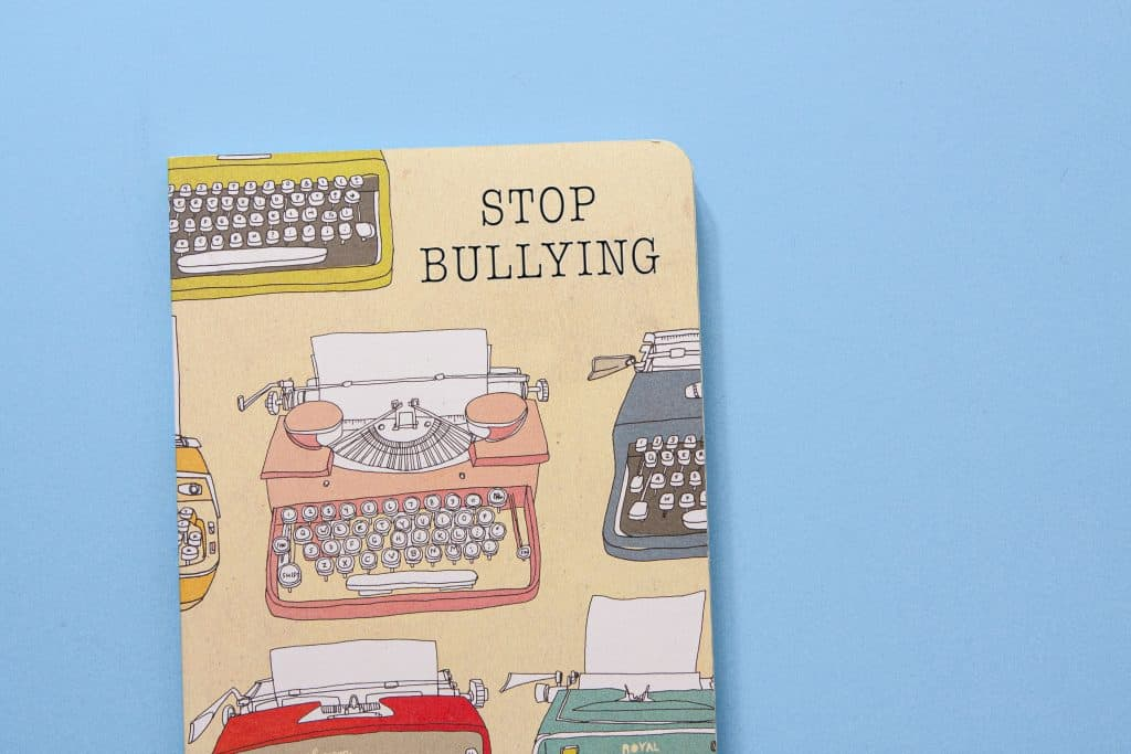 Notebook cover with stop bullying logo